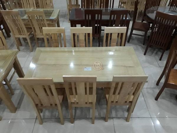 Mẫu bàn ghế ăn 6 ghế gỗ hình chữ nhật