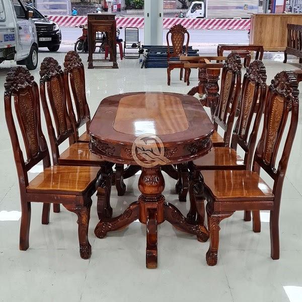 Bộ bàn ăn 6 ghế tràm mặt gõ - SP907