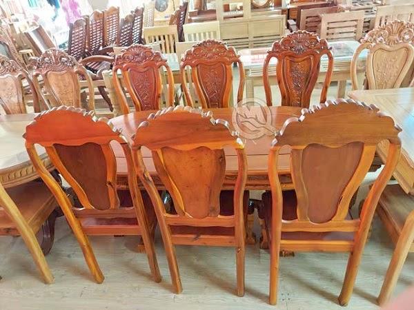 Bàn ăn Oval 6 ghế gỗ tràm - SP754