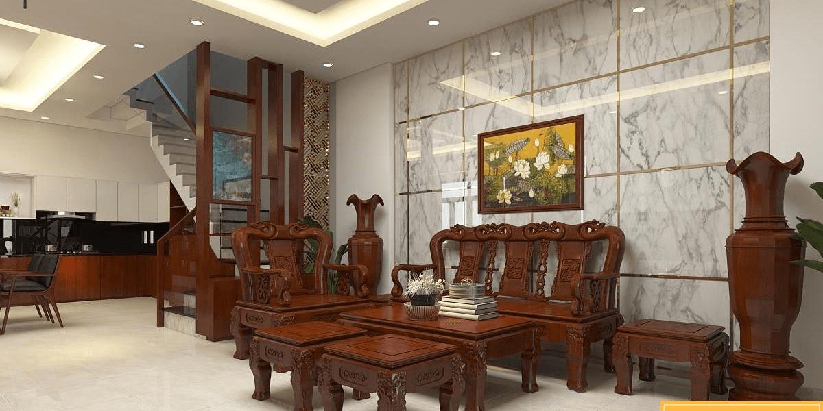 Màu sắc và kích thước bộ bàn ghế phòng khách phải hài hòa với không gian kiến trúc
