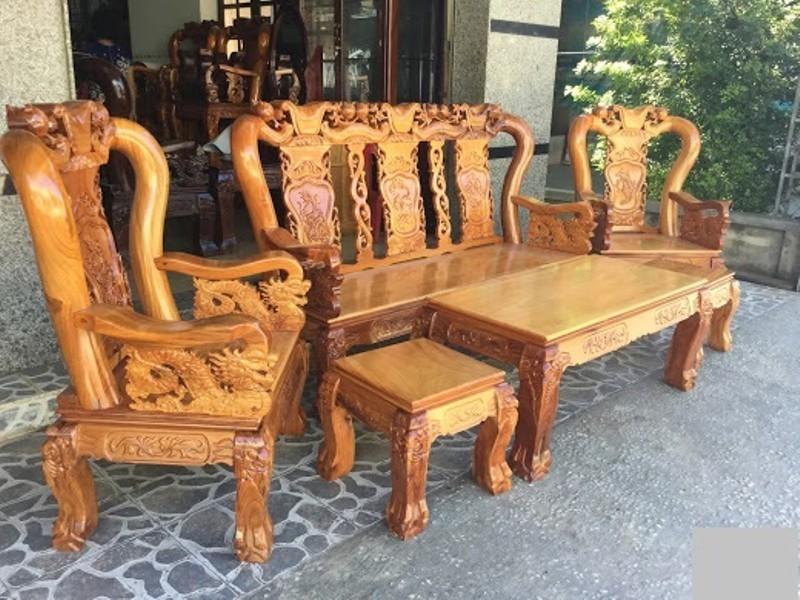 Bộ bàn ghế gỗ căm xe mặt gõ đỏ tay 12