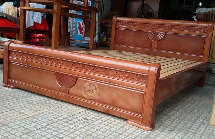 giường gỗ xoan đào kiểu quạt - SP706