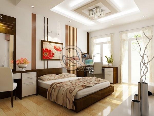 Đặt giường ngủ đầu dựa tường tạo cảm giác chắc chắn