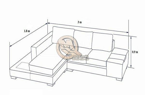 Kích thước sofa góc L với không gian vừa