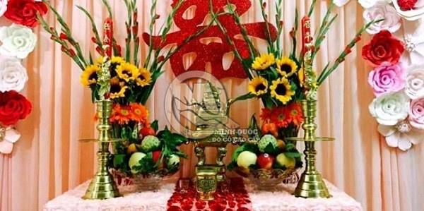 Bàn thờ gia tiên ngày cưới Miền Nam