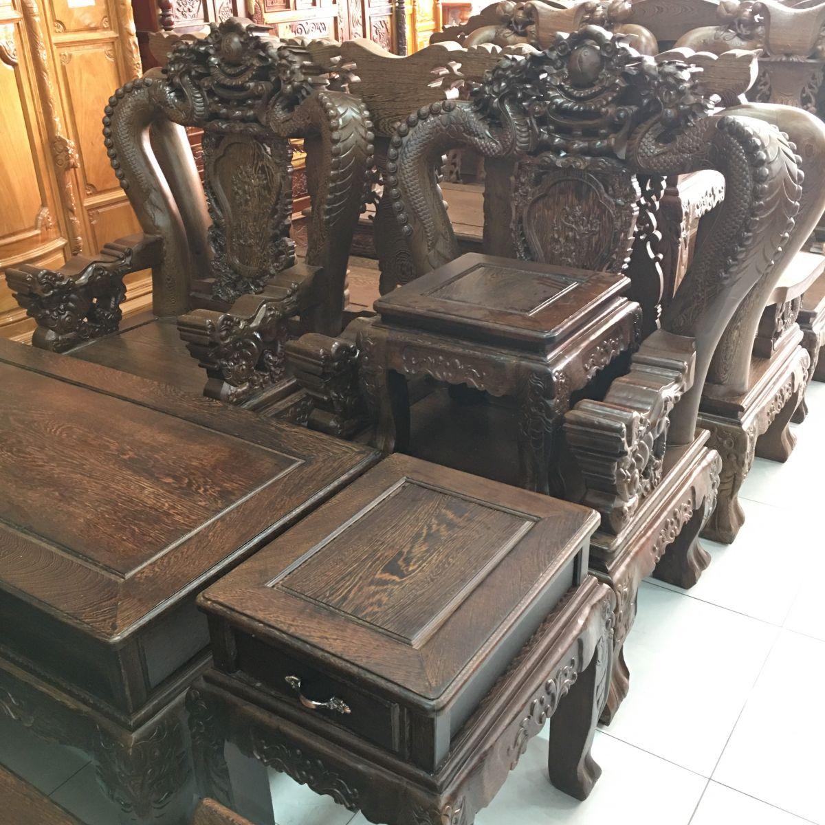 Bộ Sofa Bát Tiên Đỉnh Rồng Gỗ Mun Nam Phi - SP700
