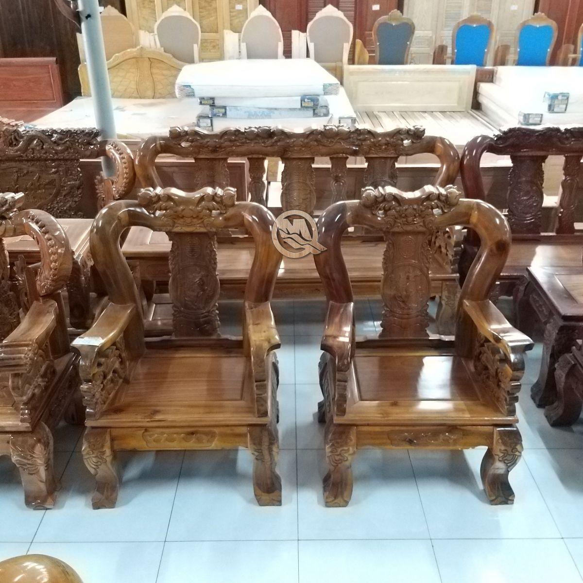 Bộ Sofa Đỉnh Voi Đào Gỗ Tràm - SP653 điêu khắc tỉ mỉ