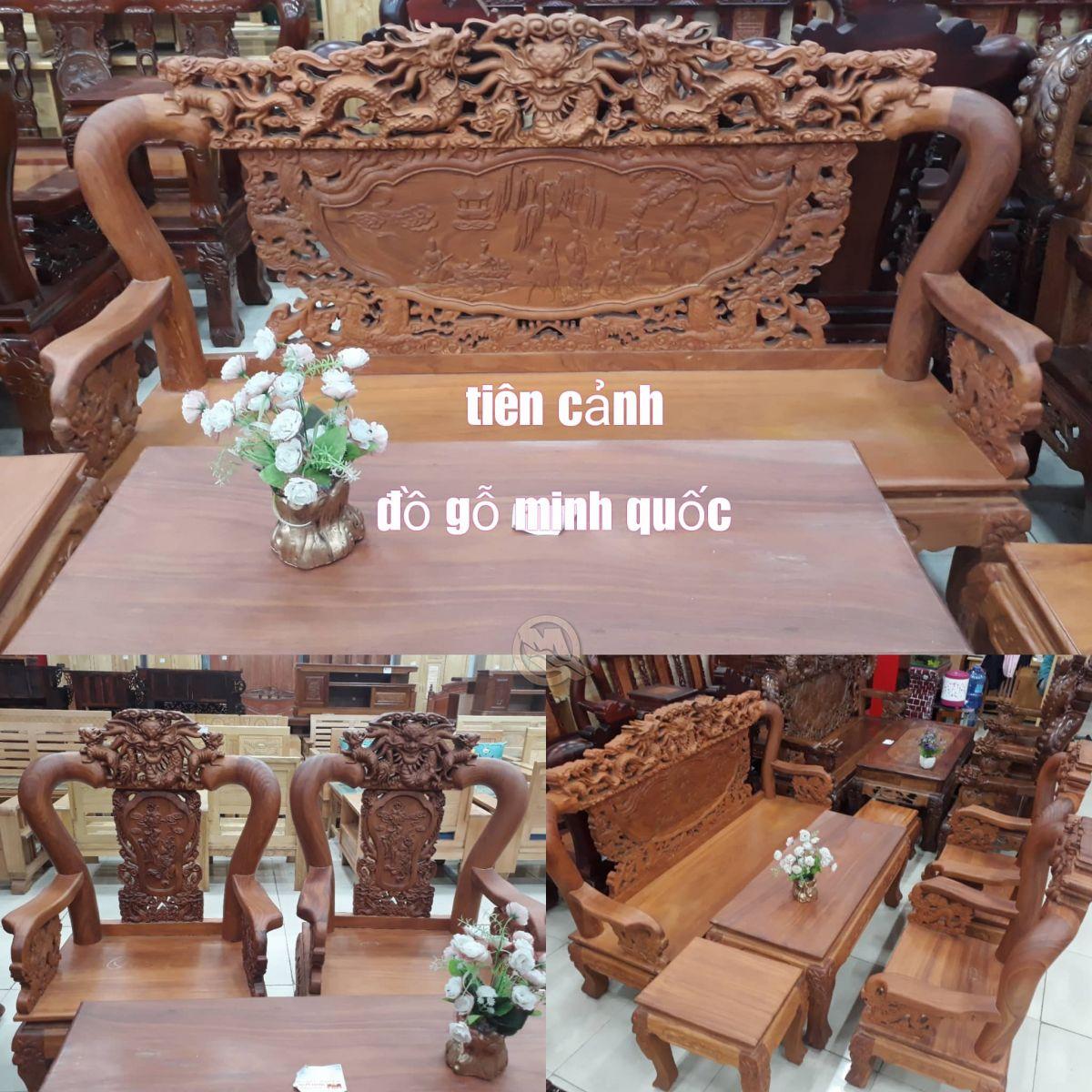 Bộ sofa Đỉnh Rồng Bát Tiên Gõ Tay 10 - SP539