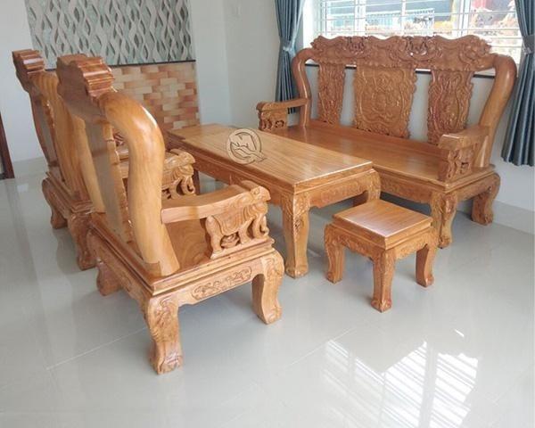 Bộ sofa tựa voi gỗ gõ đỏ tay 10