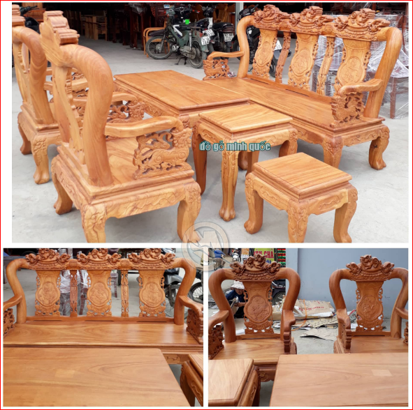 Bộ bàn ghế gỗ gõ đỉnh nghê tay 10