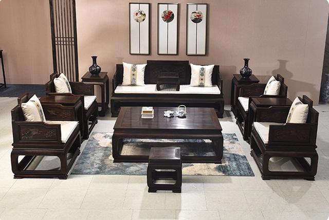 Bộ bàn ghế gỗ mun hoa dạng hộp