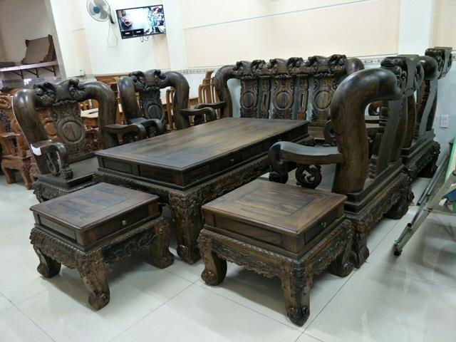 Bộ bàn ghế gỗ mun chạm kỳ lân