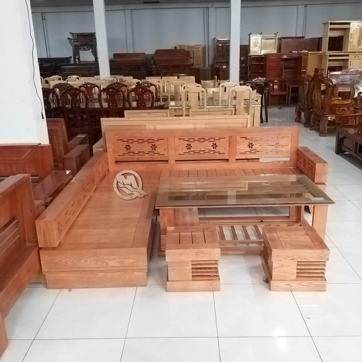 Bộ Sofa Góc Hoa Gỗ Sồi - SP662