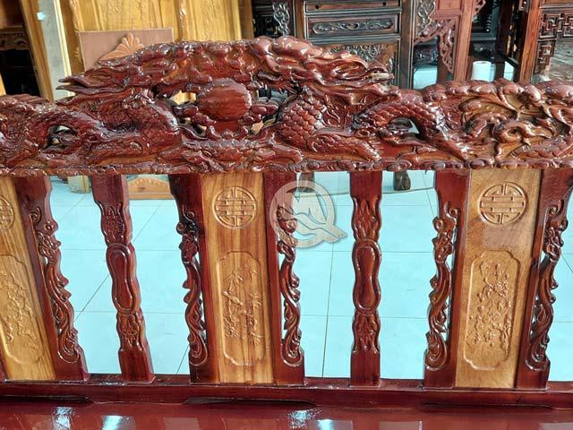 Mặt Lưng Bộ Sofa Song Long Gỗ Tràm Tay 10