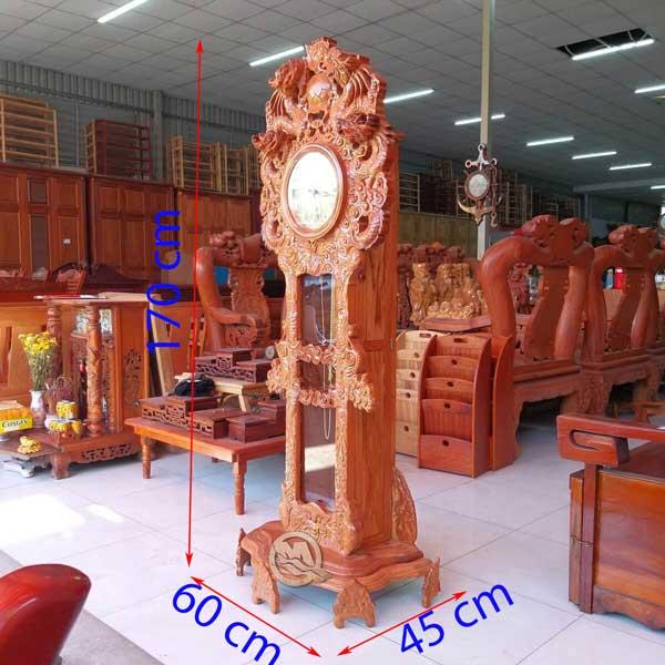 Đồng Hồ Cây Song Long Gỗ Gõ - SP624
