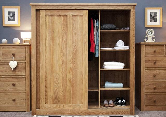 Tủ quần áo gỗ cửa lùa có nhiều ngăn nhỏ