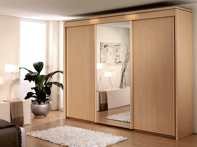 Tủ quần áo gỗ cửa lùa kèm gương soi
