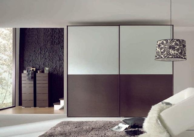 Tủ quần áo gỗ cửa lùa màu tím ghi hiện đại
