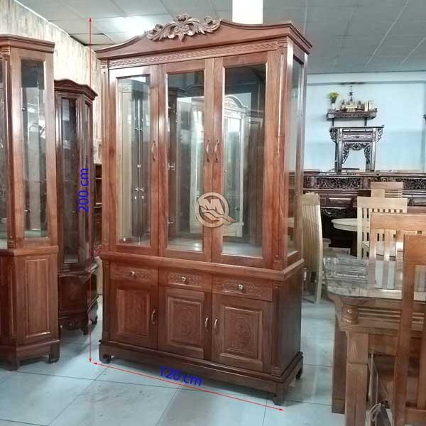 Kích thước Tủ Rượu Vuông 3C Xoan Đào 1M2- SP594