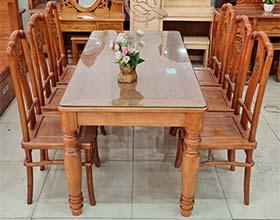 Bàn Ăn Gỗ Sồi Lau Hương 6 Ghế - SP840