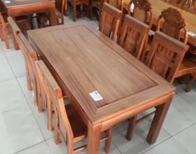 Bộ bàn ghế ăn gõ đỏ tựa cuốn KT - SP205