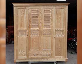 Tủ áo gỗ sồi chớp 4C - SP155